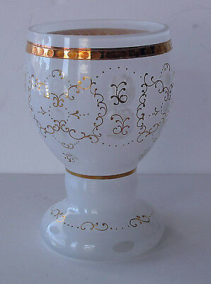 BOHEMIAN  OPAL & CLEAR GLASS GILDED, ENAMELED GOBLET, CHALICE 1900'S