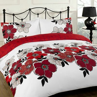 Duvet Cover with Pillow Case Bed Set Pollyanna Red Black Grey Single Double King