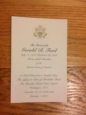2006/2007 President Gerald R. Ford Capitol Lying in State Funeral Tribute Card