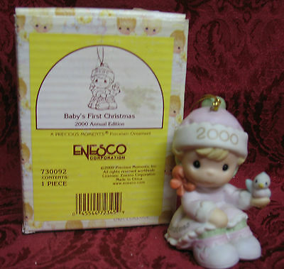Precious Moments Dated 2000 Ornament~Baby's First Christmas~ Girl