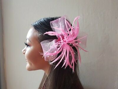 Pink 15cm Looped Net & Bead Detail Feather Fascinator on Forked Clip Brooch Pin