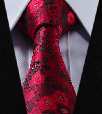 Mens Tie - Rose Red & Satin Black Grey Necktie - Italian Design Wedding Paisley