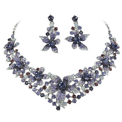 YT247 Purple Rhinestone Crystal Earrings Necklace Set Bridal Party Gift