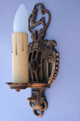 Pair 1920s Griffin Sconce Light Fits Spanish Revival Gothic English Tudor (1891)