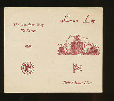 1927 SS President Harding Souvenir Abstract Log - United States Lines