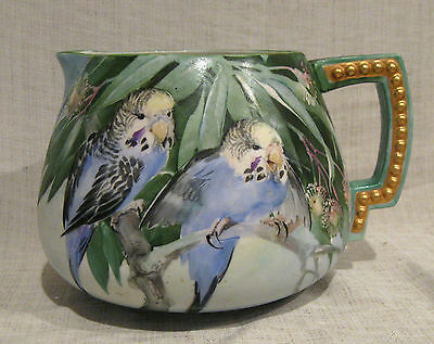 American Belleek Hand Painted Cider Pitcher with Parakeets or Budgies