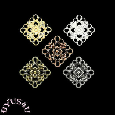 LINK CONNECTOR CHARM COMPONENT SQUARE DIAMOND 20x20mm FILIGREE CUT OUT 10pcs