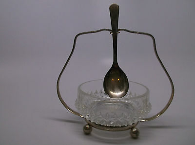 Vintage Silver Plated Sheffield England Sugar Bowl with Spoon & Stand