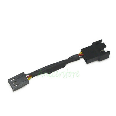 PC Cooling Fan 3 pin F to 3pin/4pin M Noise Speed Reduction 30% Resistor Cable