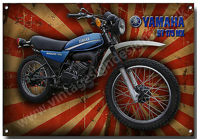 Yamaha Dt 175 Mx Motorcycle Metal Sign,enamelled Finish.classic,retro,1980's