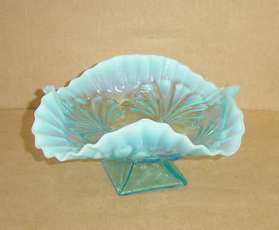 EAPG BLUE OPALESCENT FLUTED CRIMPED BEADED FAN FOOTED BOWL JEFFERSON GLASS 1905