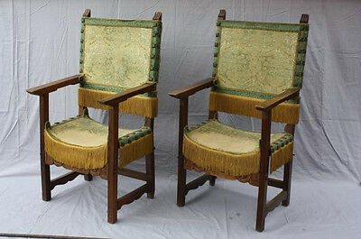 Pair 1800s Spanish Colonial Period Carved Armchairs Chair Seat Antique (6469)
