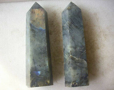 2 Natural Rainbow Labradorite Gem Stone Crystal Points Polished Healing 8.7LB
