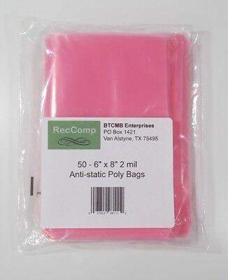 "LOT of 50 - 6 x 8"" 2 Mil Anti-Static Poly Bags for hard drive and parts storage"