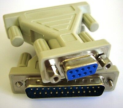 Serial Cable / Port Adapter / RS232 Gender Changer, DB9 Female to DB25 Male