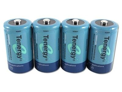 Tenergy 4 x D Size 10000mAh 1.2v Ni-MH Rechargeable Battery NIMH Cell Batteries