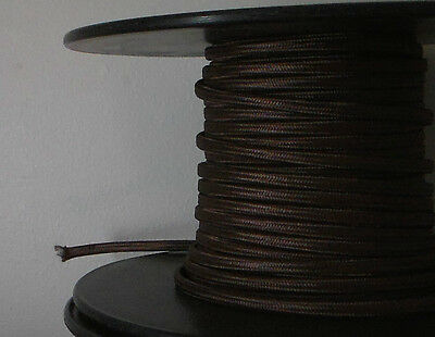 Brown Parallel Rayon Covered Wire Antique Vintage Style Cloth Lamp Lights Cord