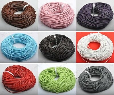 1MM 1.5MM 2MM 3MM GENUINE ROUND COWHIDE THREAD LEATHER CORD ( U pick 16 Colors )