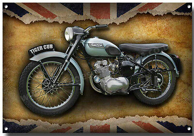 Triumph Tiger Cub Motorcycle Metal Sign,enamelled Finish,classic Motorcycle.