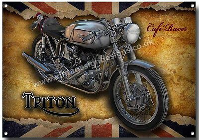 Triton Cafe Racer Motorcycle Metal Sign,enamelled Finish,classic Motorcycle.