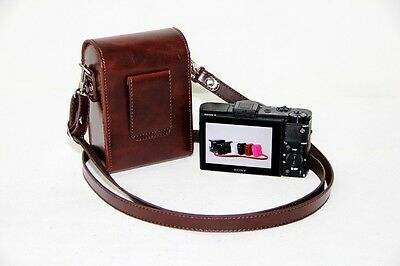 coffee brown camera leather case bag pouch to Canon SX720 HS SX710 SX600 SX700