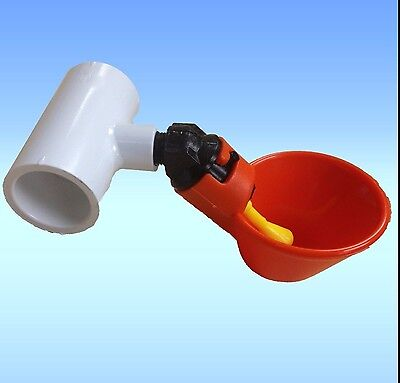 3 Poultry Water Drinking Cups & PVC Tee Fittings Chicken Drinker Beaktime Farm