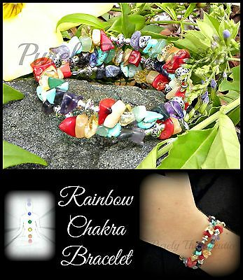 ~RAINBOW CHAKRA GEMSTONE WRAP BRACELET~Bangle~Cuff~Crystal~Wicca~Pagan~Reiki~