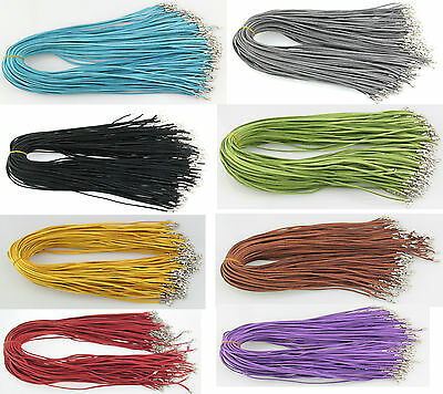 "8 COLORS 3mm 10-100 pcs String Suede Leather Strip 20"" Necklace Cords"