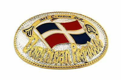 Dominican Republic Belt Buckle Flag Gold Silver Metal Mens Rodeo Western Texas