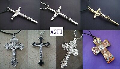 YOU PICK CRUCIFIX and NECKLACE Silver Gold Cross Jesus Pendant with Necklace