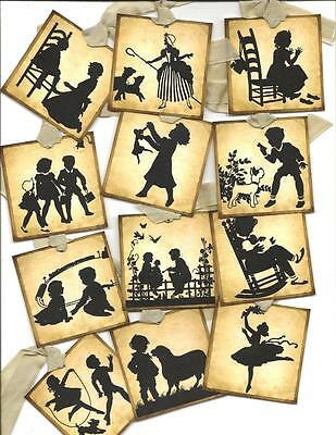 ~Silhouettes Antique Mini Hang Tags~ Set of 12 Vintage inspired Gift Tags