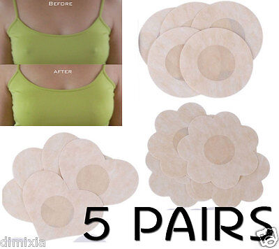 10X Nipple Breast Bra Pads Satin Covers Adhesive Non Woven Disposable Waterproof