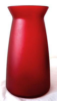 """Blown Ruby Red Valentine Urn Vase Frosted Glass Large 9"""" Decorative EXCELLENT"""