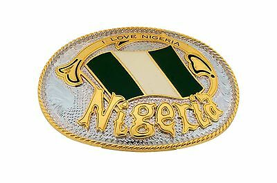 Nigeria Belt Buckle African Country Flag Jewel of Africa Metal Gold Silver Metal