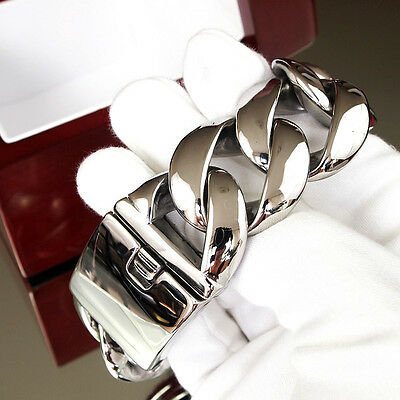 Men Stainless Steel Bracelet Chain 316L Heavy Weight Bling Big Silver Curb 1