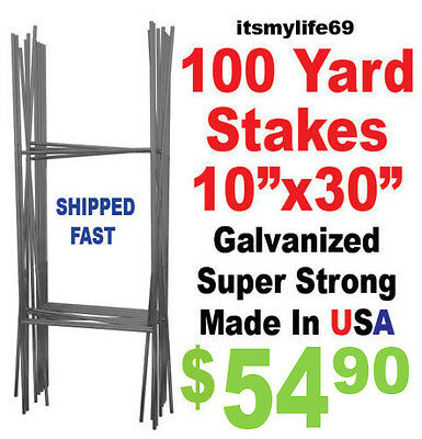 """100 Full Size """"H"""" Wire Step Stakes - Yard Sign Wire Stands - Political Campaigns"""