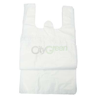 100 Qty.White Plastic T-Shirt Retail Shopping Bags w/ Handles Medium 8x4x15