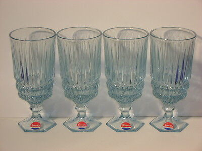 Fostoria Heritage Blue Set 4 Ice Teas W/labels Nos!