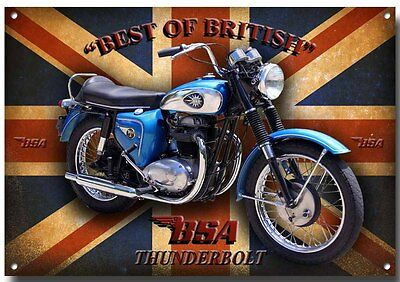 Bsa Thunderbolt Motorcycle Metal Sign,classic British Bike.