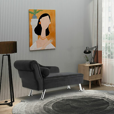 Deluxe Velvet Chaise Longue Lounge Sofa Day Bed With Bolster Cushion Black New