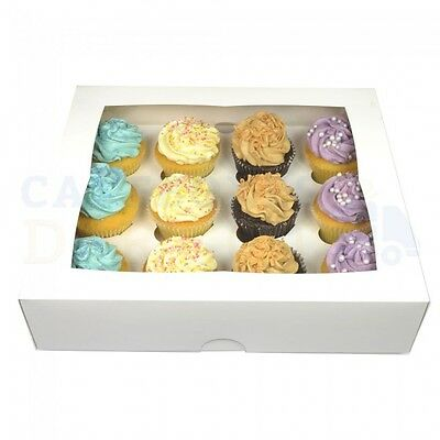 100 X 12 Premium White Window Cup Cake Boxes + Dividers