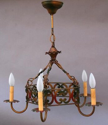 1920s Small Scale Chandelier Original Finish Fits Spanish Revival Home (0140)