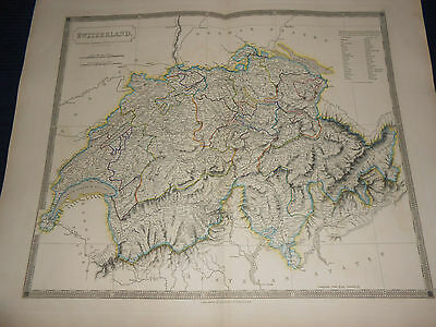 1835 Beautiful Maps Of Switzerland By Sidney Hall Handcolored Map