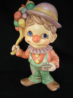 "Vintage Ceramic Clown Figurine Statue 12"" Made in USA Circus Signed Handpainted"