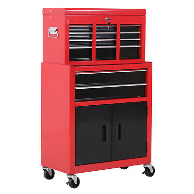 Portable Toolbox Tool Box Top Chest Cabinet Garage Storage Roll Cab Red New