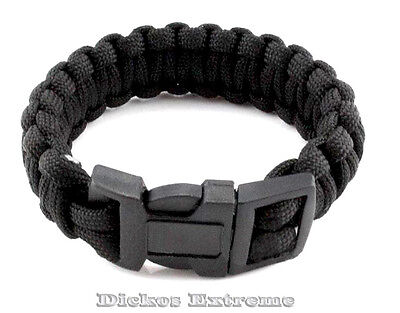 New Black 550 Paracord Tactical Military Hiking Survival Bracelet First Aid.