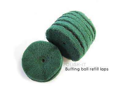 75mm REFILL LAPS FOR BUFFING BALLS (GREEN) SCOTCH BRITE-SATIN FINISHING METAL