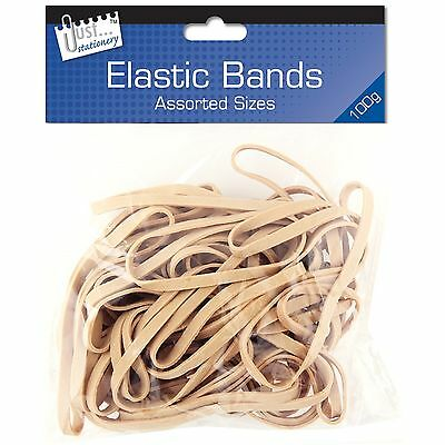 100g Strong Elastic Rubber Bands Original Assorted Size Office School Stationery