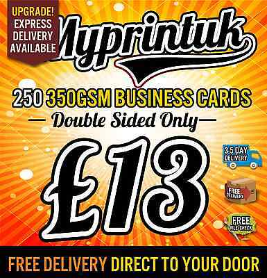 250 Business Cards 350gsm Premium Silk ~ Full Colour ~ Double Sided ~ £13