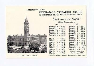 1939 Pt Postcard Gpo Adelaide Exchange Tobacco Store Adelaide Heat Wave K12